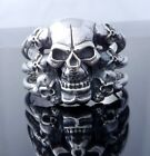 MIRROR SKULL TRIPLE BONE 925 STERLING SILVER LORD OF THE KING RING US SZ 7 TO 15