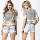 #gib 2015 Sexy Women Boho Crochet Striped Summer Casual Crop Tops T-Shirt Blouse