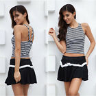 Womens Backless Striped Cross Strap Tank Tops Chic Short Vest Crop Top