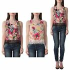 Hidden Fashion Womens Ladies Sleeveless Floral Top With Lace Detail