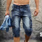 FASHION 2015 MENS SIZE 28-40 CARGO CASUAL BLUE DENIM POCKET WALK SHORTS JEANS