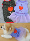 Summer LOVE MOM /DAD Puppy Dog Cat Pet Clothes T-Shirt /Sweet Tulle Lace Dress
