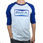 RVCA. Blue / White. Baseball Cut Long Sleeve Tee. Mens Size, M, L, XL