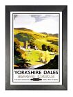 Yorkshire Dales British Railway Hills Picture Vintage Retro Old Advert Poster
