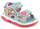 New Girls/Childrens Denim Frozen Anna & Elsa Touch Fastening Sandals. UK SIZES