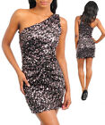 Women One Shoulder Bodycon Club Cocktail Party Sequin Dress Size 8 S NEW