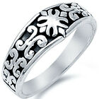 New 925 Sterling Silver Abstract Retro Design Black Oxidize Band Ring Size 3-14