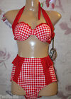 Banned Vintage Retro Pin Up 40 50's Style Red White Gingham Check Bikini Size 8