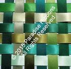 FULL ROLLS Berisfords Double Satin Ribbon 12 GREEN SHADES Choose Width + Shade