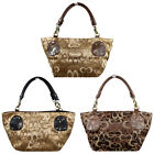 Womens Shoppers Tote Fashion Shoulder Handbags Canvas Leather Handle Bags #G3-17