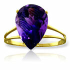 Genuine Amethyst Pear Cut Gemstone Solitaire Ring 14K Yellow, White or Rose Gold