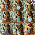 Lucky Chakra Quartz Crystal Healing Energy Point Tumbled Stone Pendant Necklace
