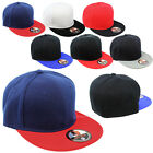 Plain Two Tone Fitted Cap Baseball Hat Solid Flat Bill Visor Blank Color Cap