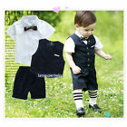 Boys Formal Suit & Bow Tie Set, Navy Shorts Waistcoat Shirt /Baby & Kids 6M-Age8