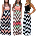 Sexy Ladies Plus Size Long Maxi Dress Summer Beach Party Sun Wave Stripes Dress