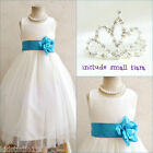 Adorable Ivory/turquoise blue flower girl party dress FREE SMALL TIARA all sizes