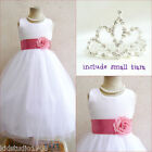 Adorable White/coral wedding flower girl party dress FREE SMALL TIARA all sizes