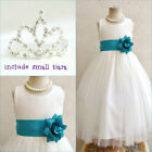 Adorable Ivory/teal green flower girl party dress FREE SMALL TIARA all sizes