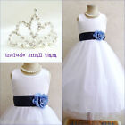Adorable White/navy blue flower girl party dress FREE SMALL TIARA all sizes