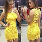 Sexy Women's Lace Backless Stretchy Bandage Bodycon Party Club Mini Dress 4-18