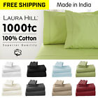 1000TC 100% COTTON BED KING QUEEN SIZE FITTED FLAT SHEET PILLOWCASE SET GENUINE