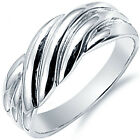 925 Sterling Silver Overlap Twisted Design Classic Woman's Band Ring Size 3-11