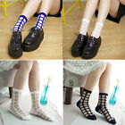 Womeng Girl's Vintage Plaid Checks Street Snap Short Socks Transparent Stockings