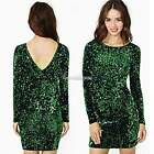 Sexy Women's Long Sleeve Sequins Bodycon Cocktail Evening Mini Party Dress SH