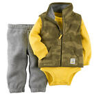 Carter's Boys 3 Piece Green Camo Zip Up Fleece Vest, Grey Fleece Pant & Yellow L