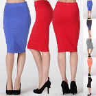 Women Career High Waist Knee Length Slim Straight Pencil Stretch Knit Skirt