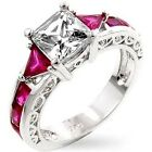 Princess Cubic Zirconia Trillion Simulated Ruby Accent Silver Tone Ring sz 5-10