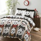 Hugh Panda with Glasses quirky design reversible bed set, bedding duvet cover…