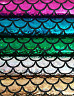 """Mermaid tail foil print fish scales fabric knittware 112cm/44"""" wide for costumes"""
