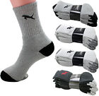 New 3 6 12 Pairs Mens Sports Athletic Crew Socks Cotton Black White Gray Solid