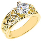 10k Yellow Gold Celtic Knot Princess Cut CZ Engagement Ring