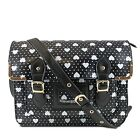 Ladies Black Heart Polka Dot Vintage School Satchel Large A4 Shoulder Handbag