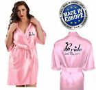 NEW Personalised BABY PINK Bridal Satin Robe / Gown Wedding Bride Mum / Gift Bag