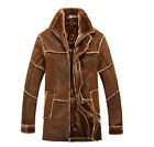2015 Mens Fur Leather Casual Flight Bomber Trench Loose Warm Jackets Coats M-XXL