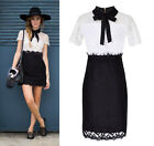 Eyelash Lace Color Contrast Block Shirt Pussy-bow Sheer Sheath Dress Witherspoon