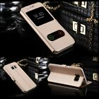 S-View Double Window Leather Stand Flip Wallet Case For All Samsung Galaxy Model