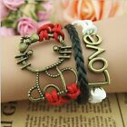Freindship Bracelet Leather Love Chain Owl Anchor Charm Anklet 4 in 1 Us Seller