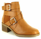 New Ladies/Womens Tan Ankle Boot With Block Heel For Comfort UK SIZES