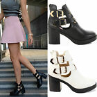 WOMENS LADIES CHELSEA PLATFORM CHUNKY MID HIGH BLOCK HEEL ANKLE BOOTS SHOES SIZE