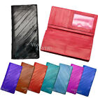 SLIM Diagonal Line Genuine EEL Skin Mens Womens Long Wallet Purse with Coin Slot