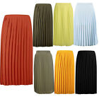 Ladies Womens Chiffon  All Over Nieve Pleated Woven Casual Midi Skirt UK 8-14