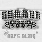 Iced Out Silver GRILLZ BLACK CZ Onyx Premium Tooth Mouth Teeth Cap HipHop Grills