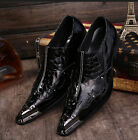 US Size 5-11 Texture Leather Metal Toe Formal Office Dress Mens Classic Shoes