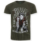 King Kerosin T-Shirt - Rebel Forever Vintage Olivgrün