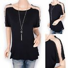 Fabulous Chains Short Sleeves Tunic Stretchy T-Shirt Blouse Top