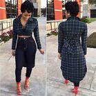 Sexy Lady Plunge Button Down Collar High Low Crop Slim Checks Top T-Shirt Blouse